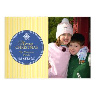 Noël barre la carte de Noël (or/bleu) Invitations Personnalisées