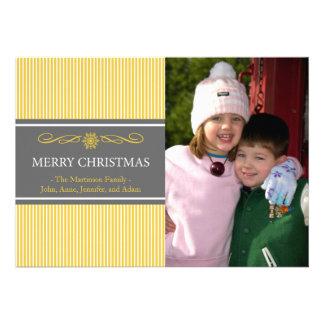 Noël barre la carte de Noël (or/gris) Invitation Personnalisée