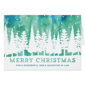 Noël bleu de fils et de belle-fille d'aquarelle carte de vœux