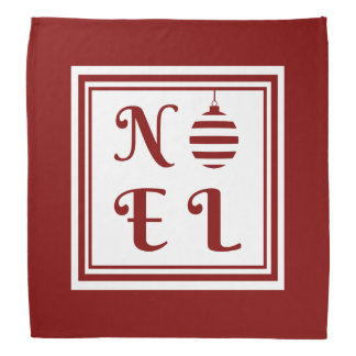 NOEL Christmas Holiday Red And White Bandana