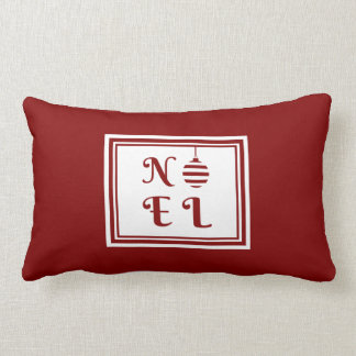 NOEL Christmas Holiday Red And White Bauble Lumbar Pillow