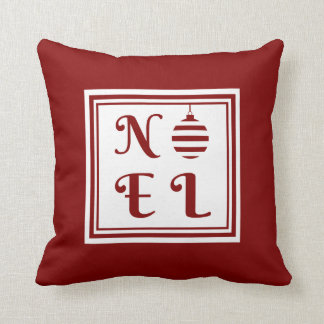 NOEL Christmas Holiday Red And White Bauble Throw Pillow