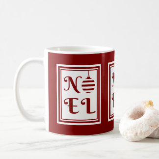 NOEL Christmas Holiday Red And White Coffee Mug