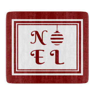 NOEL Christmas Holiday Red And White Cutting Board