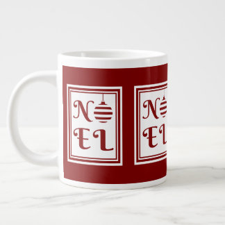 NOEL Christmas Holiday Red And White Large Coffee Mug