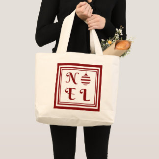 NOEL Christmas Holiday Red And White Large Tote Bag