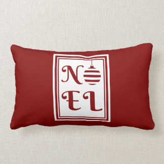 NOEL Christmas Holiday Red And White Lumbar Pillow