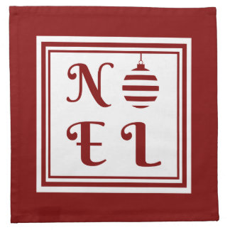 NOEL Christmas Holiday Red And White Napkin