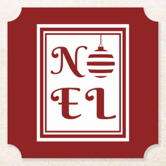 NOEL Christmas Holiday Red And White Paper Coaster