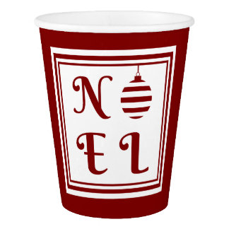 NOEL Christmas Holiday Red And White Paper Cup
