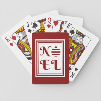 NOEL Christmas Holiday Red And White Playing Cards