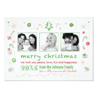 Noël d'amusement esquisse la carte avec des photos invitations personnalisées