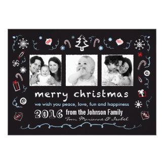 Noël d'amusement esquisse la carte avec des photos invitations personnalisables
