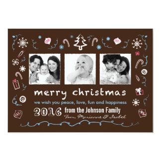Noël d'amusement esquisse la carte avec des photos bristol personnalisé