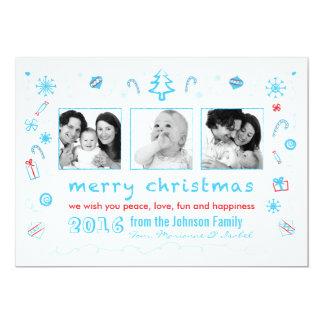 Noël d'amusement esquisse la carte avec des photos bristol