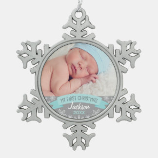 Noël de bébé de l'ornement | de photo premier ornement flocon de neige pewter