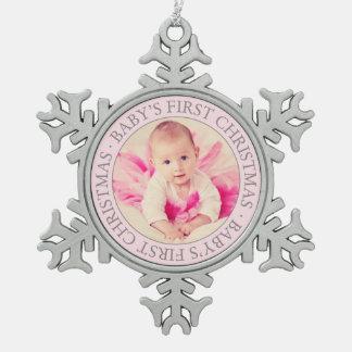 Noël de bébé de l'ornement   de photo premier ornement flocon de neige pewter