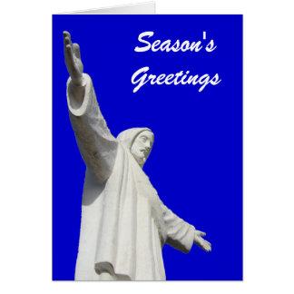 Noël de bleu de Jésus Carte De Vœux