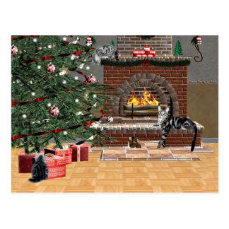 Noël de chat tigré carte postale