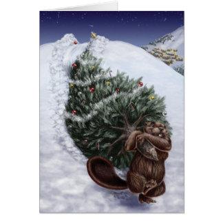 Noël de côte ouest Castor Carte De Vœux