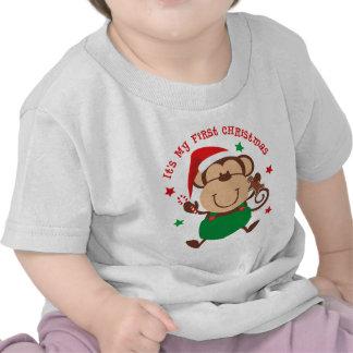 Noël de garçon de singe ęr t-shirts