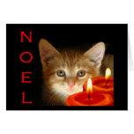 Noel de Kitty avec des bougies Cartes De Vœux
