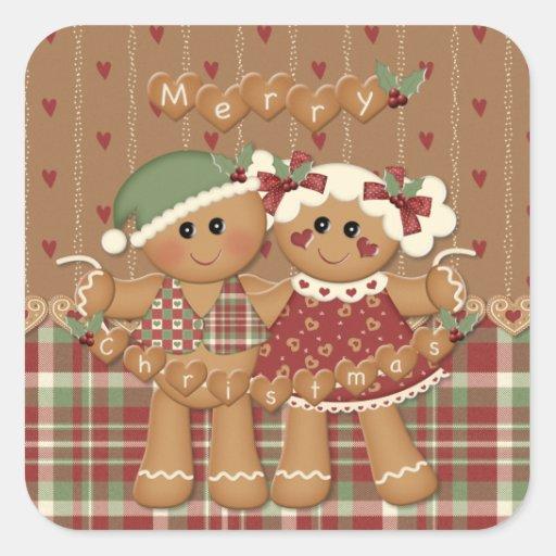 Noël de pays de pain d'épice autocollants carrés