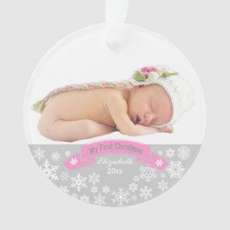 Noël de photo de bébé de l'ornement   premier