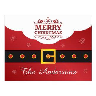 Noël de salutation de ceinture de Père Noël de Cartes Postales
