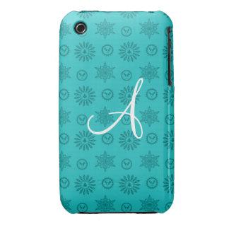 Noël de turquoise de monogramme tient le premier r étuis iPhone 3