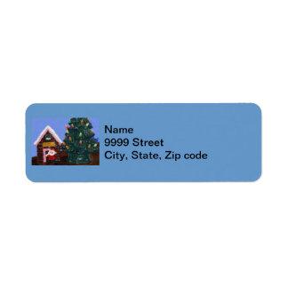 Noël démodé étiquette d'adresse retour