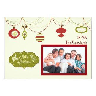Noël démodé - carte de Noël Carton D'invitation 12,7 Cm X 17,78 Cm