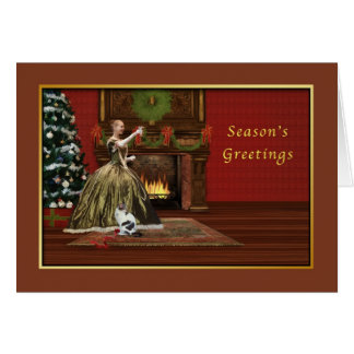 Noël démodé, cheminée, arbre carte de vœux