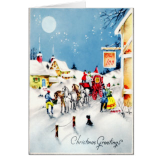Noël démodé de cottage avec le chien de Scotty Carte De Vœux