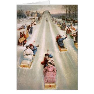 Noël démodé de cru de course de toboggan carte de vœux