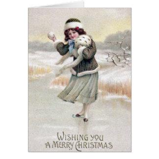 Noël démodé de cru de patineur de glace carte de vœux