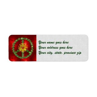Noël d'étoile de paix étiquette d'adresse retour