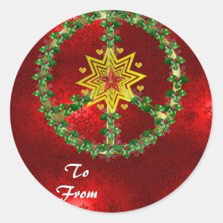 Noël d'étoile de paix adhésif rond