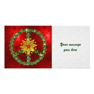 Noël d'étoile de paix cartes de vœux avec photo