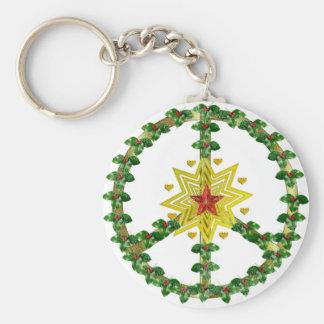 Noël d'étoile de paix porte-clé rond
