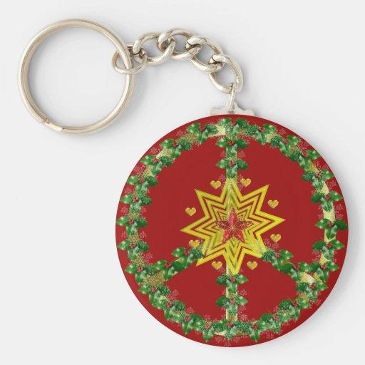 Noël d'étoile de paix porte-clefs