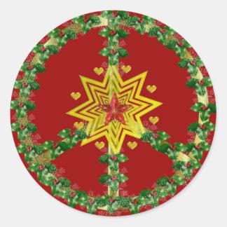 Noël d'étoile de paix sticker rond