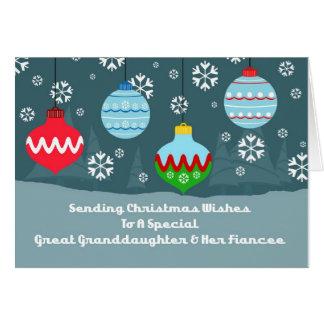 Noël d'ornements d'arrière-petite-fille et de fian carte de vœux