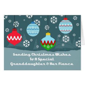 Noël d'ornements de cru de petite-fille et de fian carte de vœux