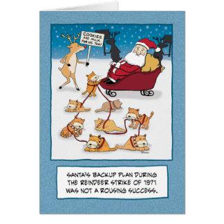 Noël drôle : Chats de Sleigh de Père Noël Carte De Vœux