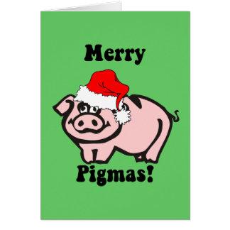 Noël drôle de porc carte de vœux