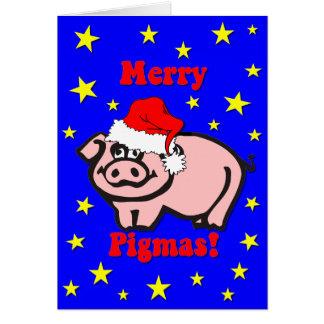 Noël drôle de porc cartes de vœux