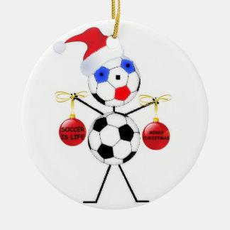 Noël du football ornement rond en céramique