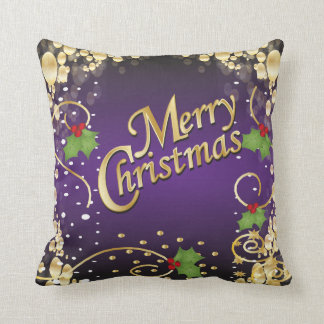 Noël élégant de pourpre et d'or oreillers