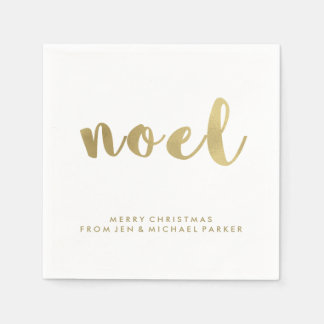 Noel Faux Gold Typography Christmas Paper Napkin